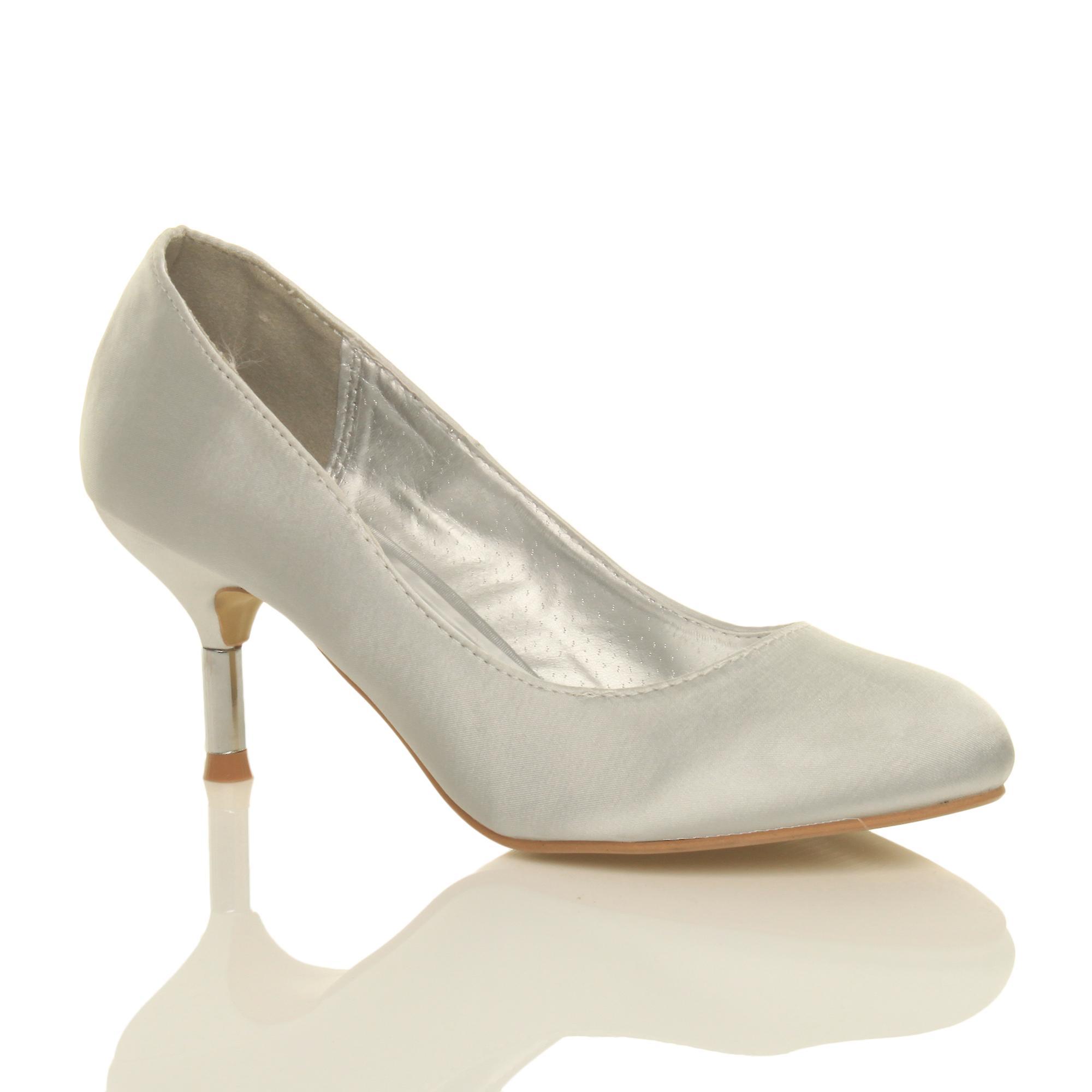 Ajvani Womens Mitte niedrigem Absatz Hochzeit Prom Hochzeitsgesellschaft Diamante Gericht Schuhe pumps