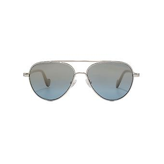 Moncler Pilot Sunglasses In Shiny Palladium Blue Mirror