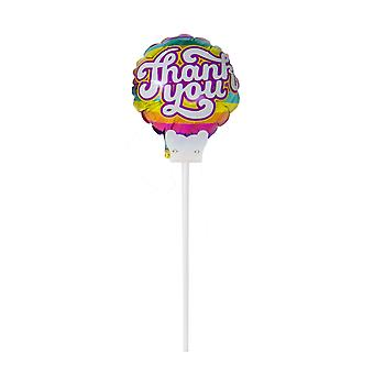 Foil balloon with staff Thank you say thank you flower connector 20 cm