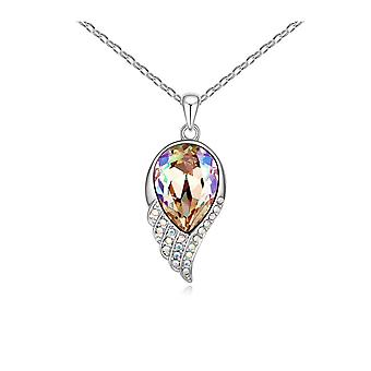 Feather pendant adorned with white Swarovski crystals