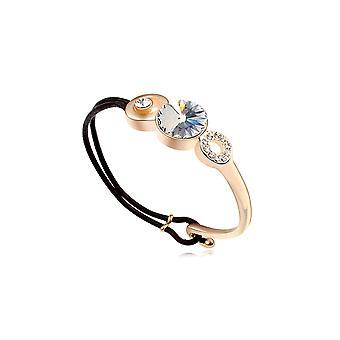 Leather and Swarovski Elements white Crystal bracelet