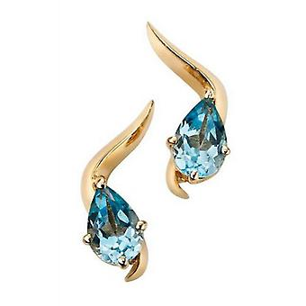 Elements Gold Knife Edge Stud Earrings - Blue/Gold