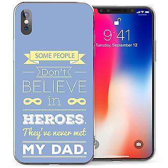 iPhone-X Vater Helden zitieren TPU Gel Tasche - blau