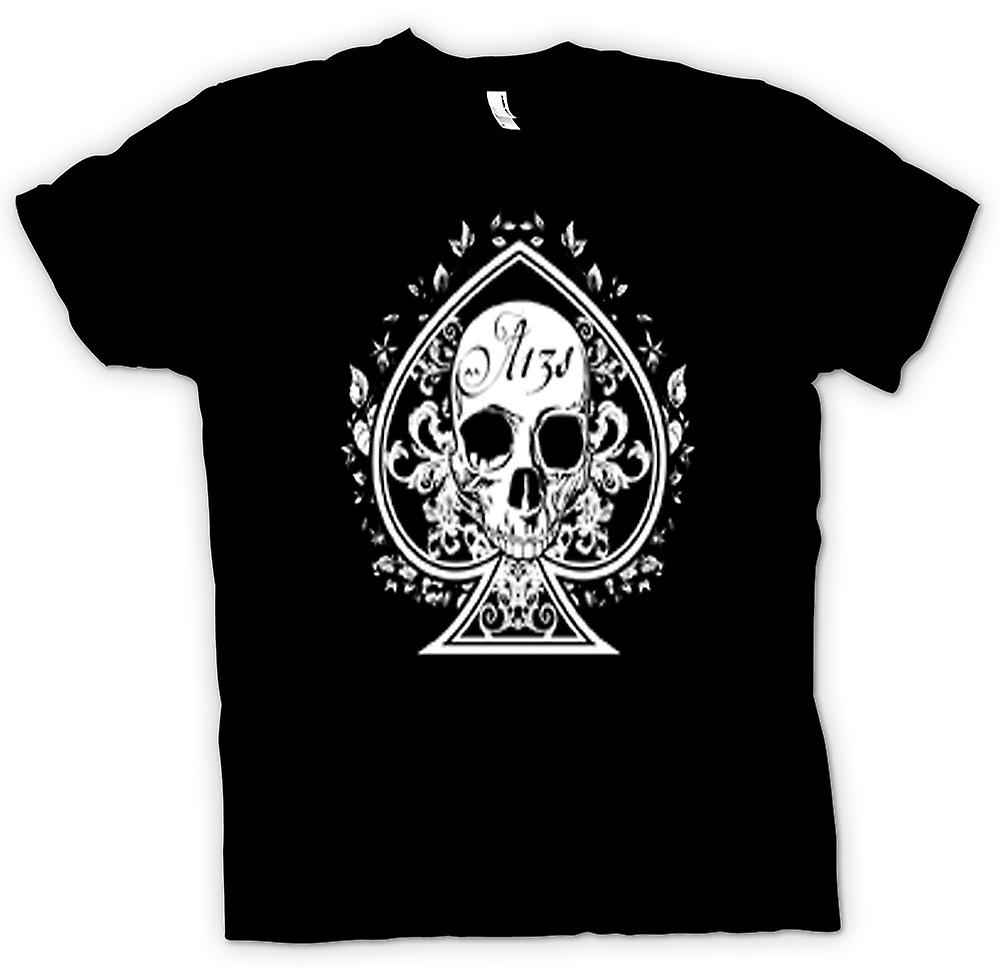 Womens T-shirt - Skull Us Biker Ace Of Spades