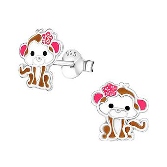 Monkey - 925 Sterling Silver Colourful Ear Studs