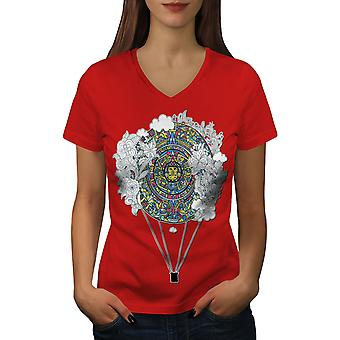 Aztec Ornament Vintage Women RedV-Neck T-shirt | Wellcoda