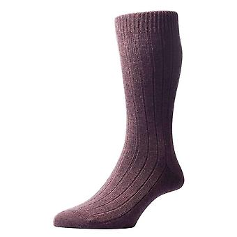 Pantherella Packington Rib Merino Wool Socks - Dark Brown Mix