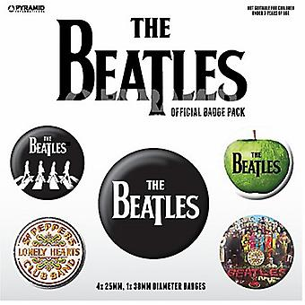 The Beatles (White) 5 Round Pin Badges In Pack