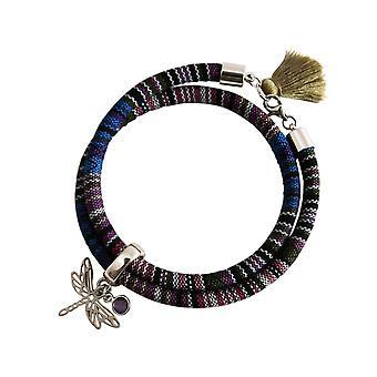 Gemshine Armband Wickelarmband Silber Libelle AZTEC Amethyst Rose Violett