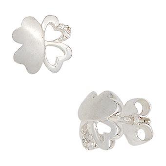 Kinder Ohrstecker KLEEBLATT 925 Silber mit Zirkonia Ohrringe für Mädchen Kinderschmuck