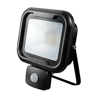 LED Robus Remy 20W Cool White Black LED Flood Light With PIR