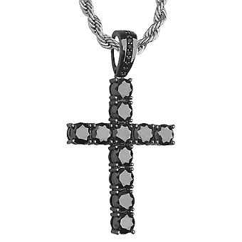 Iced out bling tennis charmes - cubic zirconia cross zwart