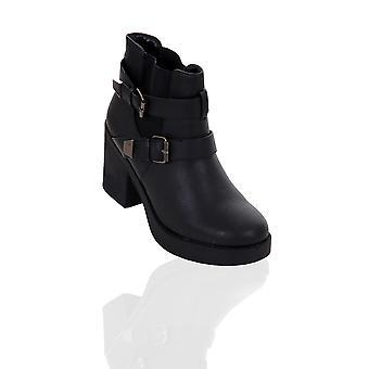 Blok platformy Panie grube środku pięty pasek klamra kobieta Biker Boots Shoes