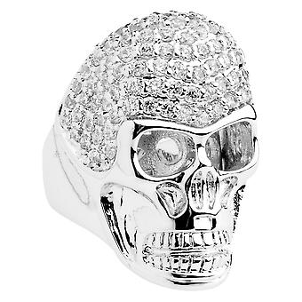 Iced out bling micro pave ring - 3D SKULL silver