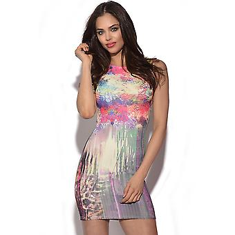 Abstrakt Print Bodycon kjole