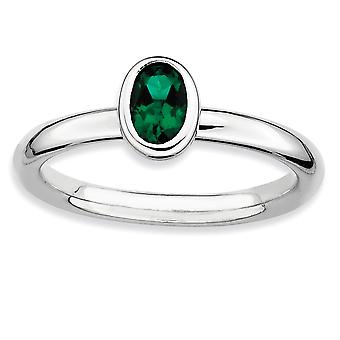 Sterling Silver Bezel Polished Rhodium-plated Stackable Expressions Oval Created Emerald Ring - Ring Size: 5 to 10