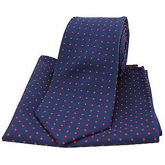 David Van Hagen Pin Dot Krawatte und Einstecktuch Set - Navy/rot