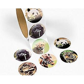 Roll of 100 Wild Animal Photo Stickers for Kids Crafts | Wild Animal Kids Crafts