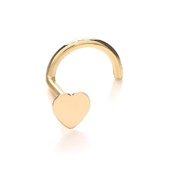 Nose Stud Screw Piercing 9 ct Yellow Gold, Body Jewellery, Heart