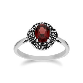 Gemondo Sterling Silver Oval Garnet and Marcasite Cluster Ring