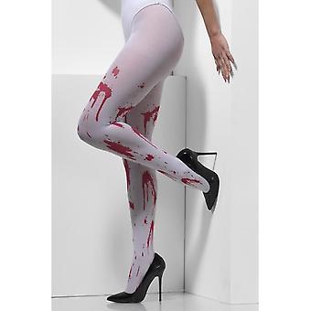 الجوارب غير شفاف، أبيض، مع بقع الدم
