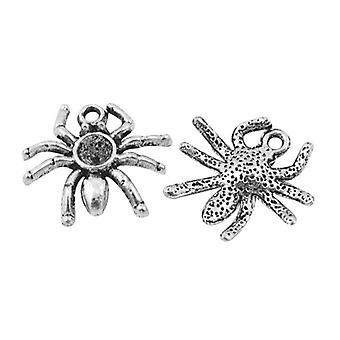 Pakke 15 x antik sølv tibetanske 19mm edderkop charme/vedhæng ZX00730