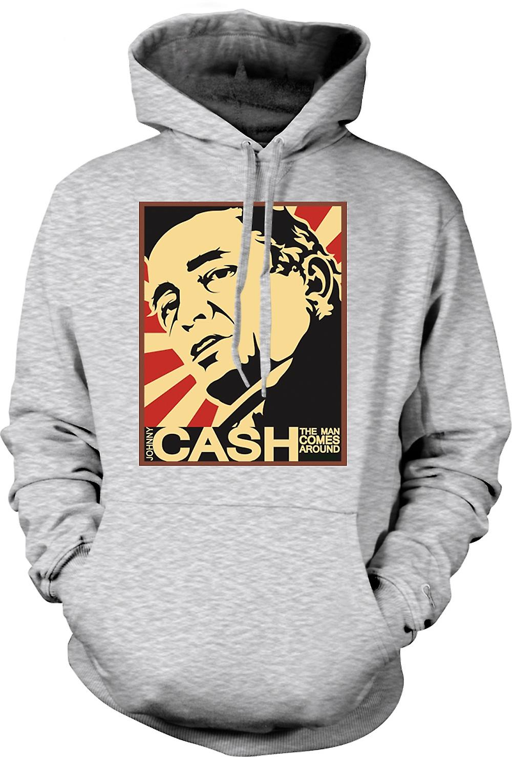 Mens Hoodie - Johnny Cash - Man Comes Around