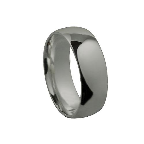9ct White Gold 8mm plain Court shaped Wedding Ring