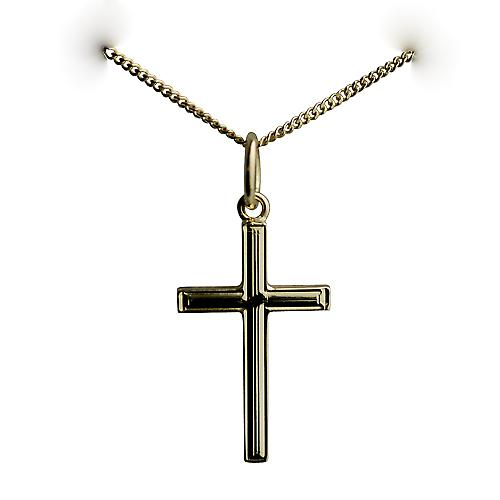 18ct Gold 20x12mm engine turned lined border solid block Cross with a curb Chain 16 inches Only Suitable for Children