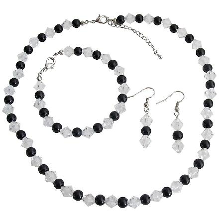 Bridesmaid Gift Black Pearls Clear Crystals Complete Jewelry Set
