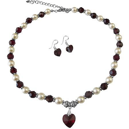 Garnet Crystals Cream Pearls & Bali Silver Spacer Garnet Heart Jewelry