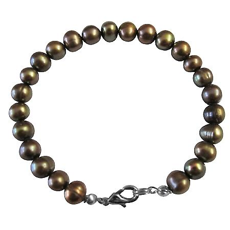 Jewelry Dyed Brown Olivine Metallic Freshwater Pearl Bracelet