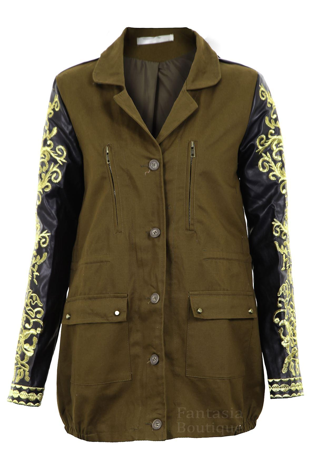 Ladies PVC Gold Embroidered Long Sleeve Khaki Women's Coat