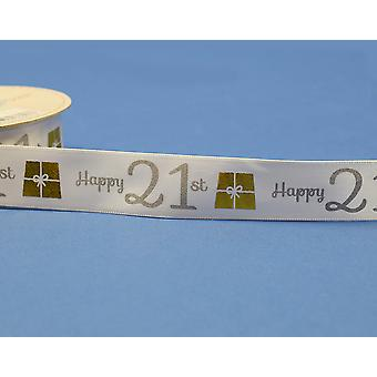 25mm White Happy 21st Birthday Printed Ribbon - 20m | Ribbons & Bows for Crafts
