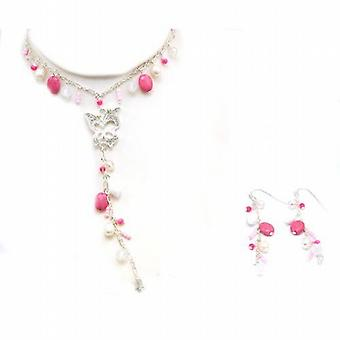 The Olivia Collection Pink Butterfly Necklace and Drop Earrings Gift Set