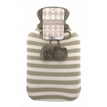 Jacquard Knit Pom Pom 2L Hot Water Bottle: Beige Stripes