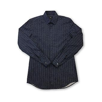 HUGO BOSS slim fit shirt in navy with leaf pattern
