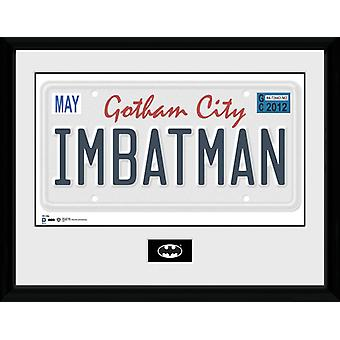 Batman License Plate Framed Collector Print 40x30cm