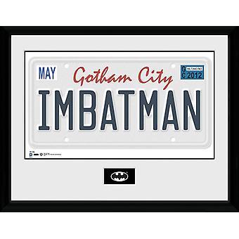 Batman-Nummernschild gerahmt Collector Print 40x30cm