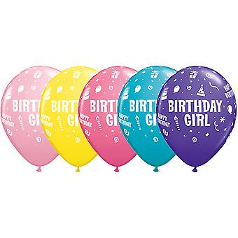 Qualatex 11 Pouces Assortiment Birthday Girl Latex Ballons (Pack Of 25)