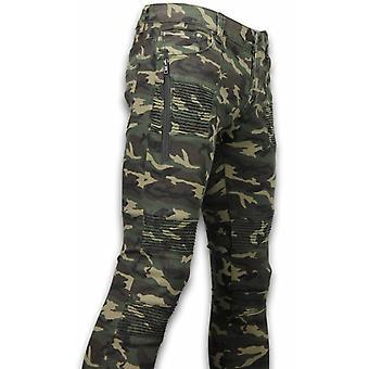 Exclusivo rasgado camo jeans-Slim Fit Biker jeans camuflar-verde