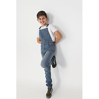 Boys slim fit denim dungarees - light