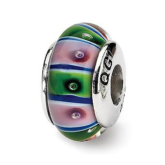 925 Sterling Silver Polished Antique finish Reflections Green Red Murano Glass Bead Charm