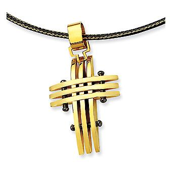 Stainless Steel Polished IP black-plated Yellow IP-plated Fancy Lobster Closure Gold Color IP-plated Cross Necklace 16 I