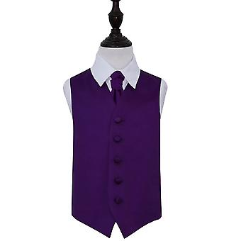 Boy's Purple Plain Satin Wedding Waistcoat & Cravat Set