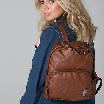 POLAR WHITES BROWN QUILTED ZIP BACKPACK o : o