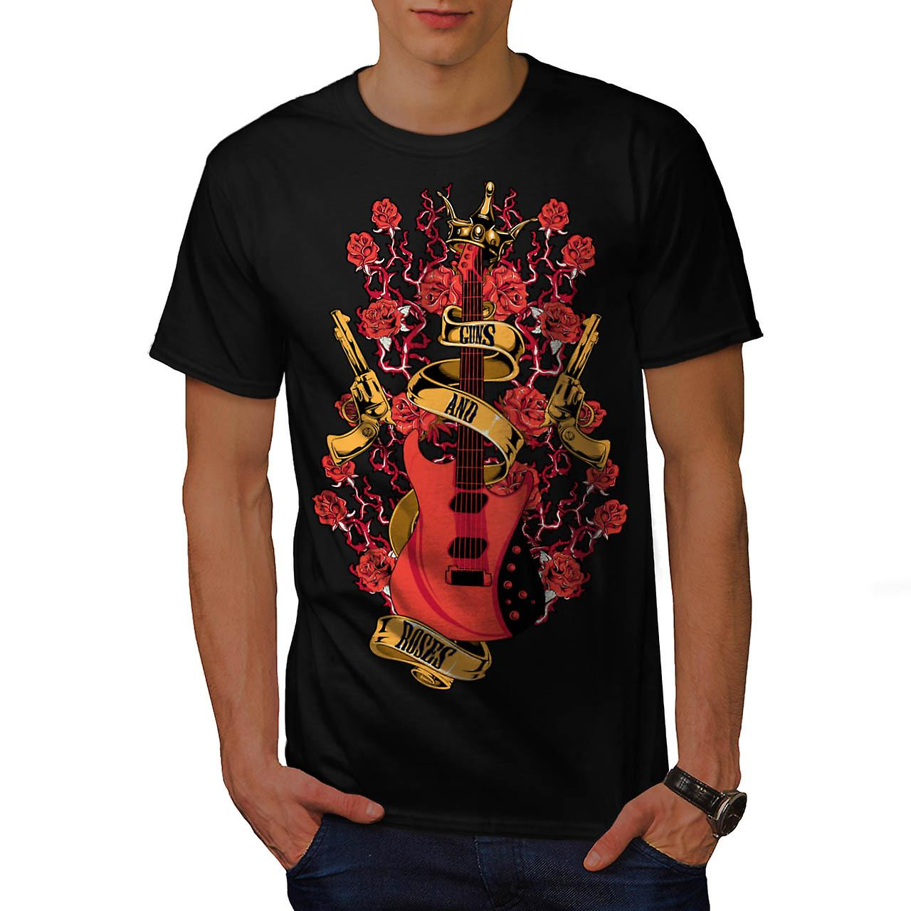 Roses and Guns Rock Men Black T-shirt | Wellcoda