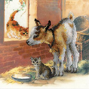 Goatling en Kitten geteld Cross Stitch Kit-11.75