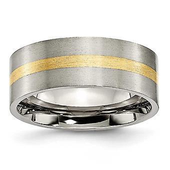 チタン ブラシ フラット バンド彫刻用 14 k 金象嵌 8 mm サテン バンド リング - 指輪のサイズ: 6 に 13