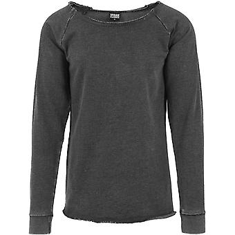 Urban classics - long open Burnout crewneck dark grey